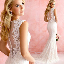 2016 New white/ivory Lace mermaid wedding dress Bridal Gown custom size 6-18 +