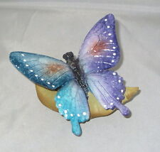 "Butterfly on Leaf Figurine 4.5"" Wide Purple Blue New Butterflies Insect Bug"