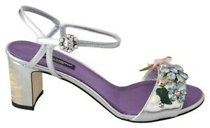 DOLCE & GABBANA Shoes Silver Purple Crystals Ankle Strap EU37.5 / US7 RRP $1300
