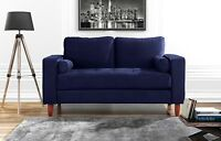 Couch for Living Room, Tufted Velvet Fabric Loveseat Sofa w/ Back Cushions, Navy