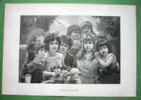 """CUTE CHILDREN Girls Roses Cat Goat -  Victorian Era Print 15"""" x 22"""""""