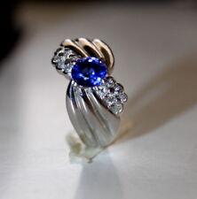 PT900 1.12CT sapphire & 0.29ct diamond Japan design ring 8.7G very beautiful