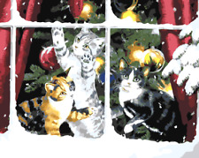 Paint By Numbers Kit Canvas 50*40cm 8022 Three Cats in Xmas AU Shipping