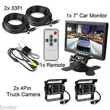 """7"""" Rear view Monitor 12V 24V + 2x Reversing CCD Camera For Truck Caravan Bus Van"""