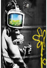 "BANKSY STREET ART CANVAS PRINT Gas mask boy 24""X 16"" stencil poster"