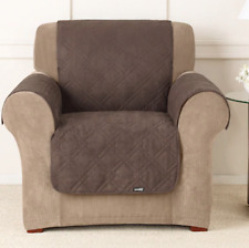 Sure Fit Soft Suede Pet / Child Chair Throw Chocolate Double Diamond Pattern