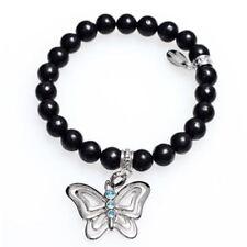 Butterfly Bracelet w. Cubic Zirconia Black Marble Beads Stretch Jewelry Controse