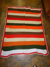 "Crocheted  Blanket Afghan  White, Red, Green Orange Stripe 37 x 45"""