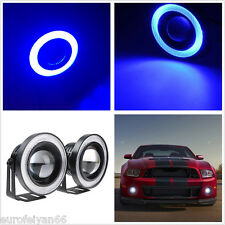 One Pair 10W COB Angel Eyes Blue LED Autos Pickup Projector Lens Fog Lights DRL