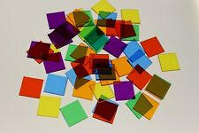 50 x ASSORTED SQUARE TRANSPARENT COLOUR PLASTIC COUNTER CHIPS - FREE UK POST