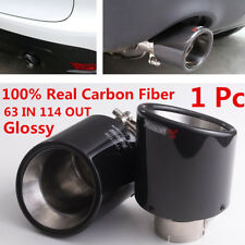 Car Round Carbon Fiber Glossy 63mm Inlet/114mm outlet Car Muffler Pipe - New