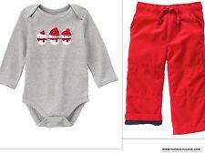 GYMBOREE Boys  Snowman Top With Lined Pants Snow Cozy  NEW SIZE 12-18 MTHS