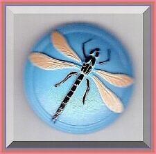 CZECH GLASS BUTTON - Dragonfly Blue Pink Black