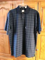 NEW MENS GEOFFREY BEENE BLUE PLAID POLO SHIRT SIZE MEDIUM