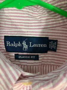 Ralph Lauren Classic Fit Button Down Shirt 15 1/2- 34/35 Red & White Striped