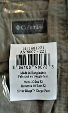NEW COLUMBIA SILVER RIDGE Men's Cargo Pants 30X32 Hunting Fishing TUSK 30 X 32