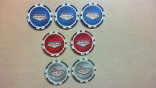 7 Las Vegas Nevada Casino Chips Red Blue Grey Poker Bx2