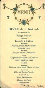 Menu ancien diner du 11 Mai 1932 Mr Vilain maison à Croix de Vie 85