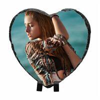 Personalised Photo Heart  Shape Rock Slate