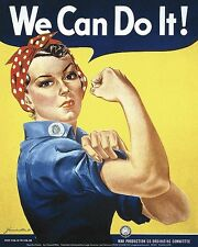INTERNATIONAL WOMEN'S DAY POSTER CALLED ROSIE THE RIVETER  / WE CAN DO IT PRINT