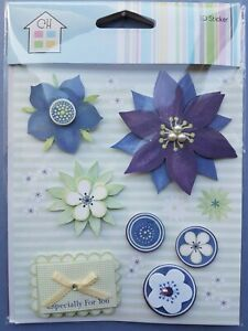 Craft Stickers 3d Flower Floral green blue purple stamen Especially for you(D01)