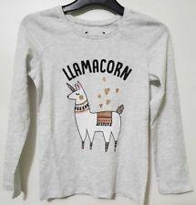 LLAMACORN T-Shirt Top Girls Kids Long Sleeve Sticker Print TEE Vest Primark