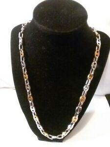 Men's  Gold and Silver Stainless Steel Loose Linked Necklace