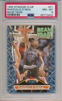 1992 Topps Stadium Club Shaquille O'Neal Beam Team Rookie Card Shaq #21 PSA 8