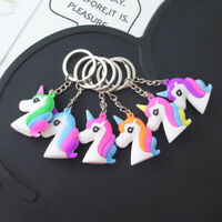 Lovely Unicorn Key Chain Pendant Silicon Rainbow Keyring Bag Party Business Gift