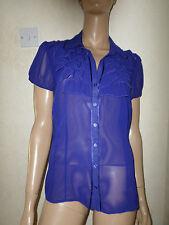 Púrpura Georgette recorte satinado Talla Cuello Volante Recortar Blusa Manga Corta 16