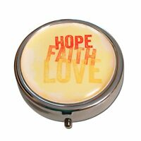 Hope, Faith, Love, Round Three Compartment Silver Pocket Pill Box Case