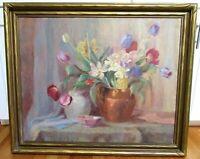 "BIG Antique 34"" Original Floral Still Life Framed Oil Painting Country Folk Art"