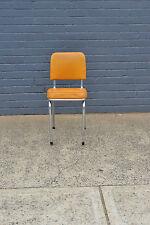 Retro Vintage Kitchen Chair  mid century orange / amber chrome