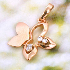 Flowers Fangle 9K Yellow Gold Filled Tow-tone CZ Womens Pendants Drops