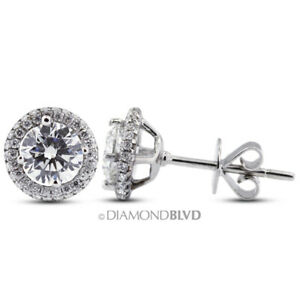 2.73ct tw E SI2 Round Cut Natural Certified Diamonds 18K Gold Halo Fine Earrings