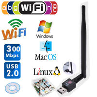 300Mbps USB 2.0 WLAN Router Wireless Adapter LAN Netzwerkkarte Stick mit Antenne