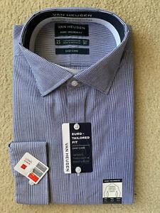 Van Heusen Business Shirt Blue Strip Size 43 Long Sleeve (T14)