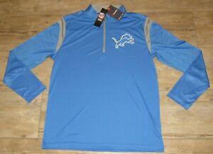 Detroit Lions Fanatics NFL 1/4 Zip Honolulu Blue Pullover Tech Jacket Men Large