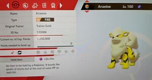 Shiny Arcanine 6IV Max EVs Competitive Pokemon Sword Shield FAST DELIVERY