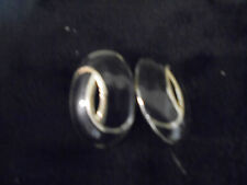 """Vintage Costume Jewlery Earrings (Clip Ons )  1"""" Oval  Black Acrylic Gold trim"""