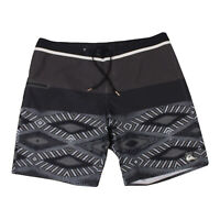 Quiksilver Mens Board Shorts Size 38 Striped Brown Black White Design Swim Surf
