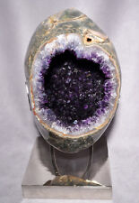 Amethyst Partial Polished Geode Crystal on Chrome Stand - Uruguay
