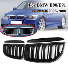 For 05-08 BMW E90 E91 Sedan/Wagon Front Kidney Grille Grill Gloss Black 2 Line