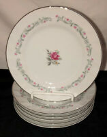 "6 Japan Fine China ROYAL SWIRL PINK ROSE *6 1/4"" BREAD PLATES *"