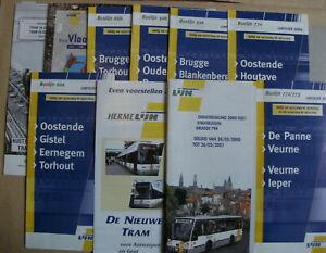 10 Belgian Bus & Tram Timetables Maps Leaflets 2000 - 2010 De Lijn Set 7