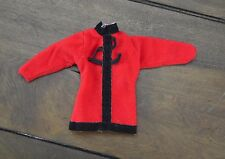 Barbie Doll Red Chinese Style Top Tunic Shirt Blouse Black Trim Clothes
