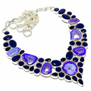 """Window Agate Druzy, Blue Sapphire 925 Sterling Silver Necklace 18"""""""
