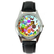 CANDY CRUSH SWEET VIDEO GAME BLACK LEATHER FILM MOVIE STEEL ROUND DVD WATCH