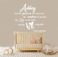 Custom You are Precious in Every Way - Baby Girl Quote  Baby Nursery Wall Decal
