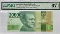 INDONESIA 20000 20,000 RUPIAH 2016 / 2018 P 158 SUPERB GEM UNC PMG 67 EPQ